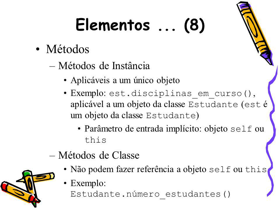 Elementos... (8) Métodos –Métodos de Instância Aplicáveis a um único objeto Exemplo: est.disciplinas_em_curso(), aplicável a um objeto da classe Estud