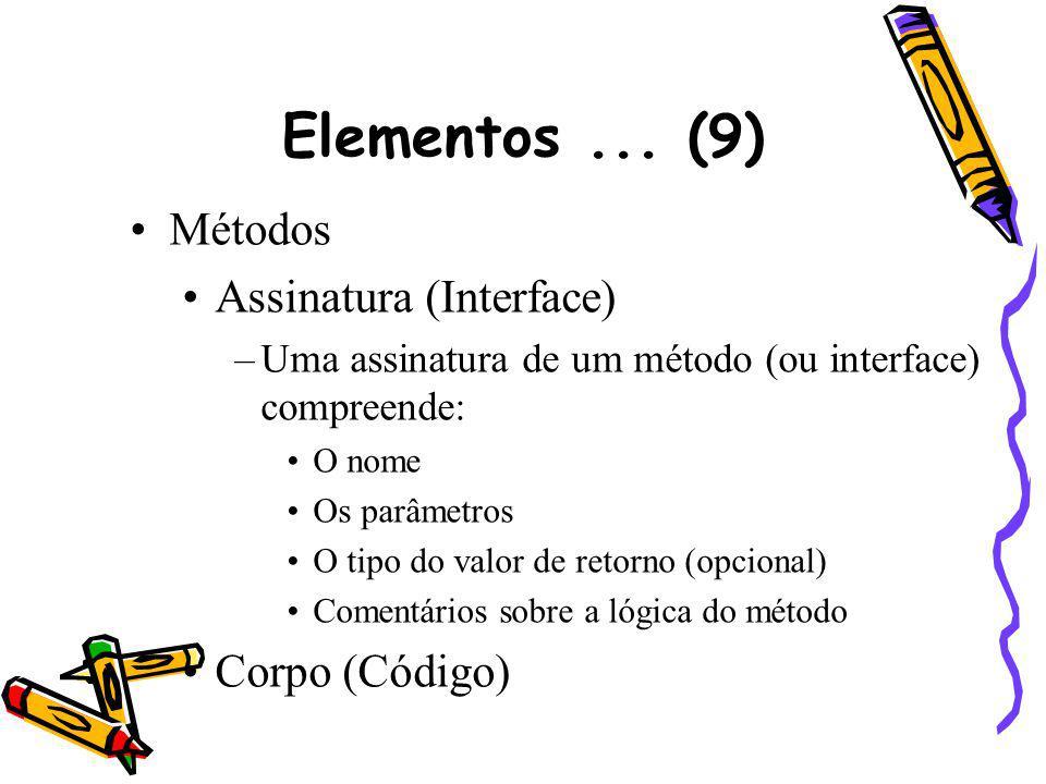 Elementos... (9) Métodos Assinatura (Interface) –Uma assinatura de um método (ou interface) compreende: O nome Os parâmetros O tipo do valor de retorn