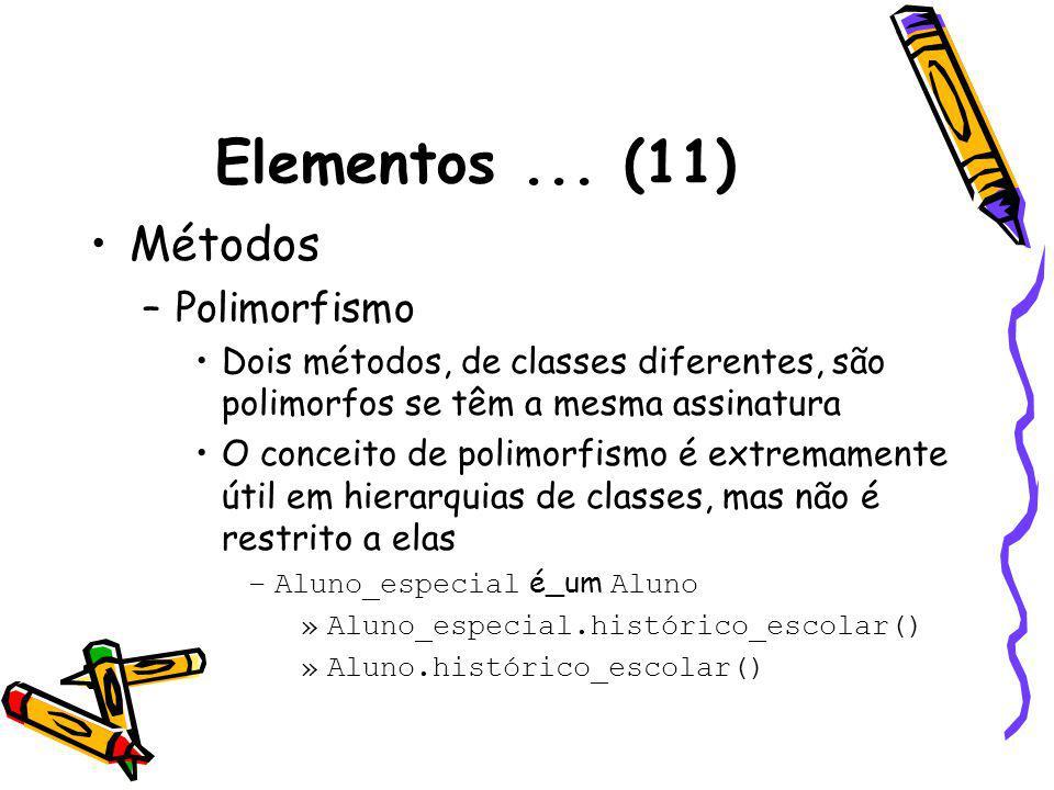 Elementos... (11) Métodos –Polimorfismo Dois métodos, de classes diferentes, são polimorfos se têm a mesma assinatura O conceito de polimorfismo é ext