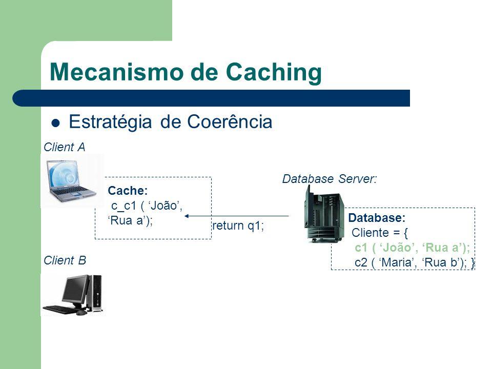 Mecanismo de Caching Estratégia de Coerência Database Server: Database: Cliente = { c1 ( João, Rua a); c2 ( Maria, Rua b); } Cache: c_c1 ( João, Rua a); return q1; Client A Client B