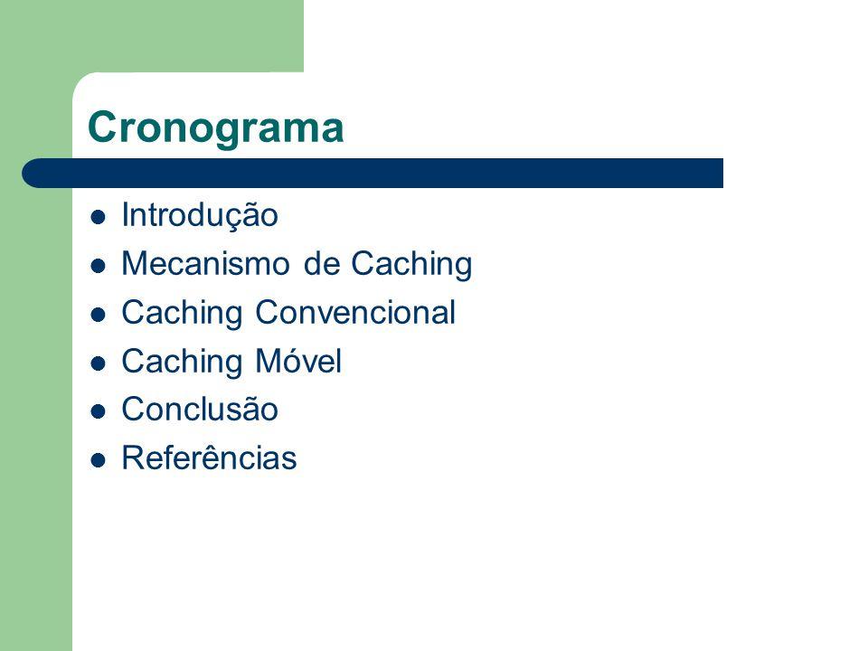 Cronograma Introdução Mecanismo de Caching Caching Convencional Caching Móvel Conclusão Referências