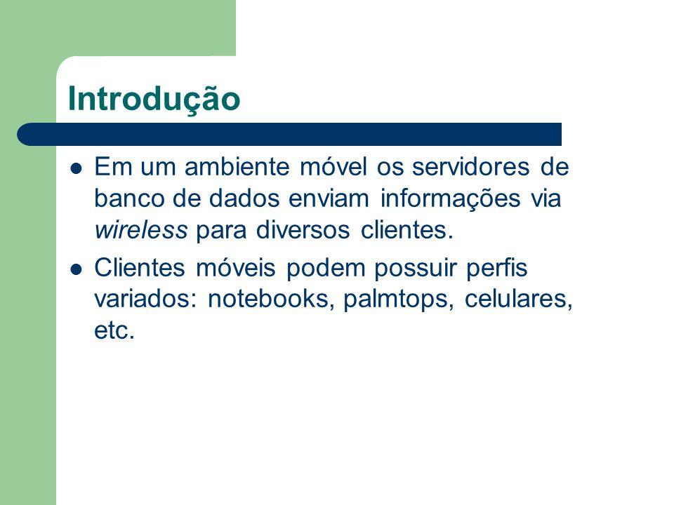 Introdução Em um ambiente móvel os servidores de banco de dados enviam informações via wireless para diversos clientes.