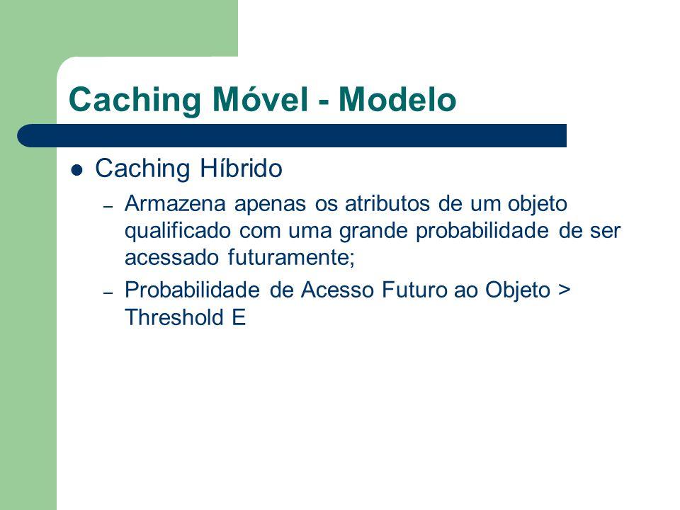 Caching Móvel - Modelo Caching Híbrido – Armazena apenas os atributos de um objeto qualificado com uma grande probabilidade de ser acessado futurament