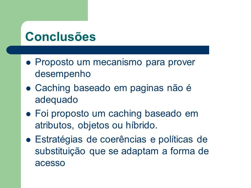 Conclusões Proposto um mecanismo para prover desempenho Caching baseado em paginas não é adequado Foi proposto um caching baseado em atributos, objeto