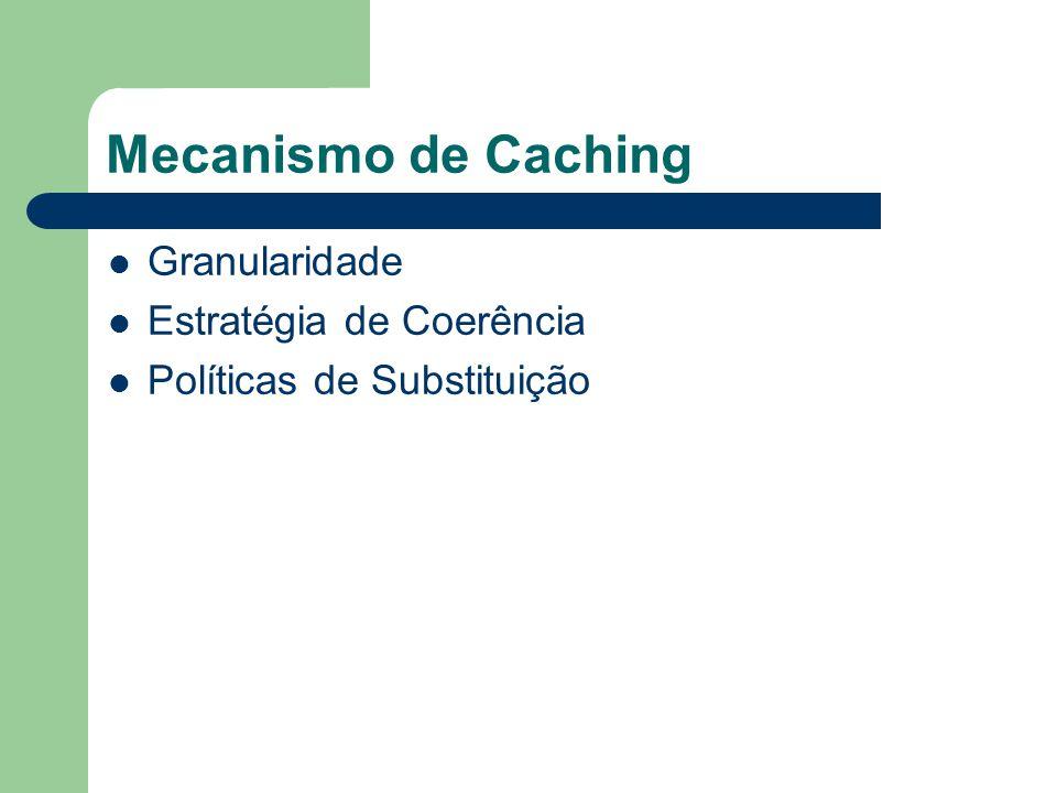 Mecanismo de Caching Granularidade Estratégia de Coerência Políticas de Substituição