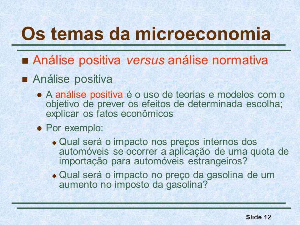 Slide 12 Os temas da microeconomia Análise positiva versus análise normativa Análise positiva A análise positiva é o uso de teorias e modelos com o ob
