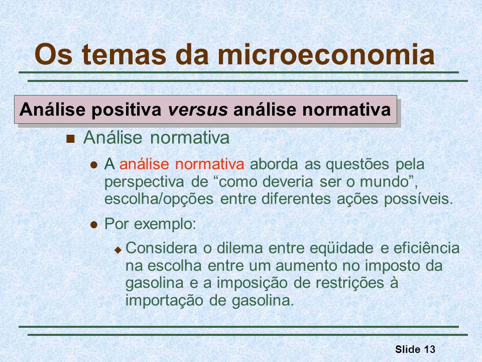 Slide 13 Os temas da microeconomia Análise normativa A análise normativa aborda as questões pela perspectiva de como deveria ser o mundo, escolha/opçõ