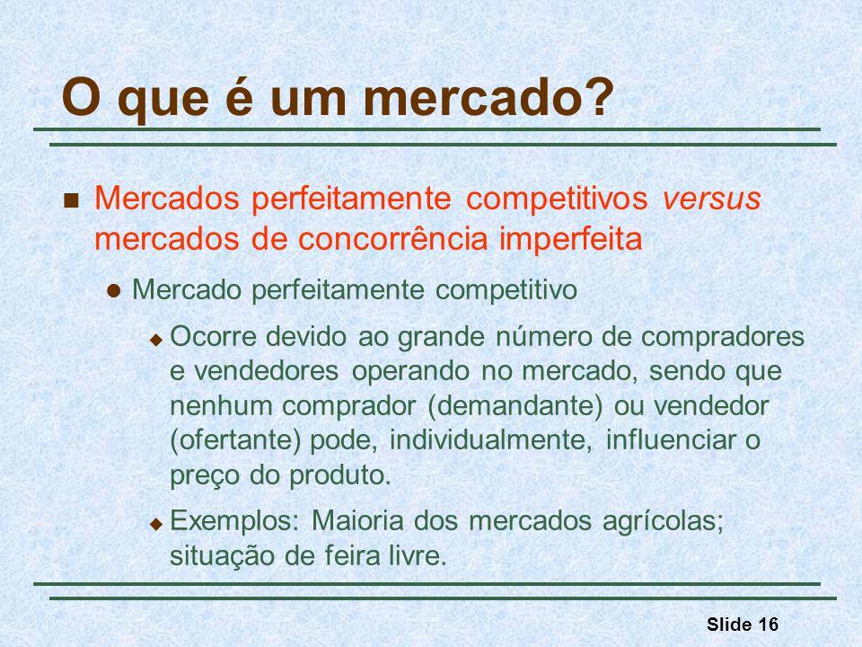 Slide 16 O que é um mercado? Mercados perfeitamente competitivos versus mercados de concorrência imperfeita Mercado perfeitamente competitivo Ocorre d