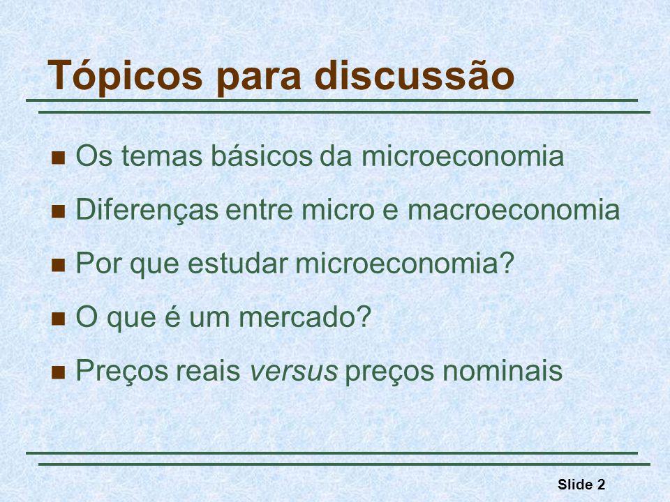 Slide 2 Tópicos para discussão Os temas básicos da microeconomia Diferenças entre micro e macroeconomia Por que estudar microeconomia? O que é um merc