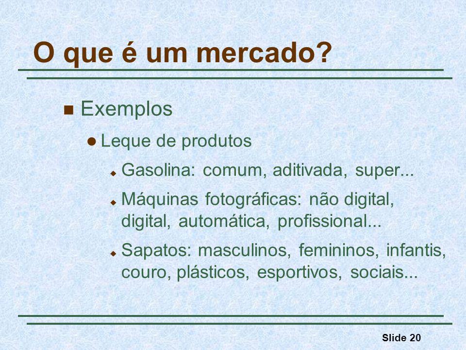 Slide 20 O que é um mercado? Exemplos Leque de produtos Gasolina: comum, aditivada, super... Máquinas fotográficas: não digital, digital, automática,