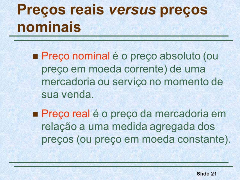 Slide 21 Preços reais versus preços nominais Preço nominal é o preço absoluto (ou preço em moeda corrente) de uma mercadoria ou serviço no momento de