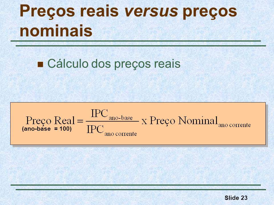 Slide 23 Preços reais versus preços nominais Cálculo dos preços reais (ano-base = 100)