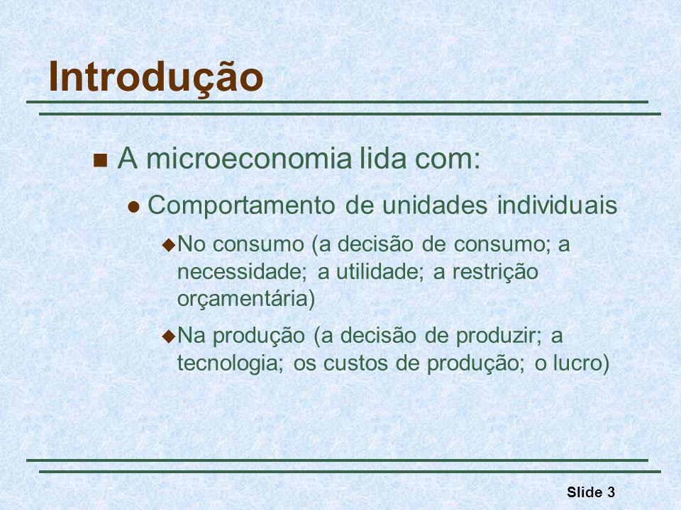 Slide 3 Introdução A microeconomia lida com: Comportamento de unidades individuais No consumo (a decisão de consumo; a necessidade; a utilidade; a res