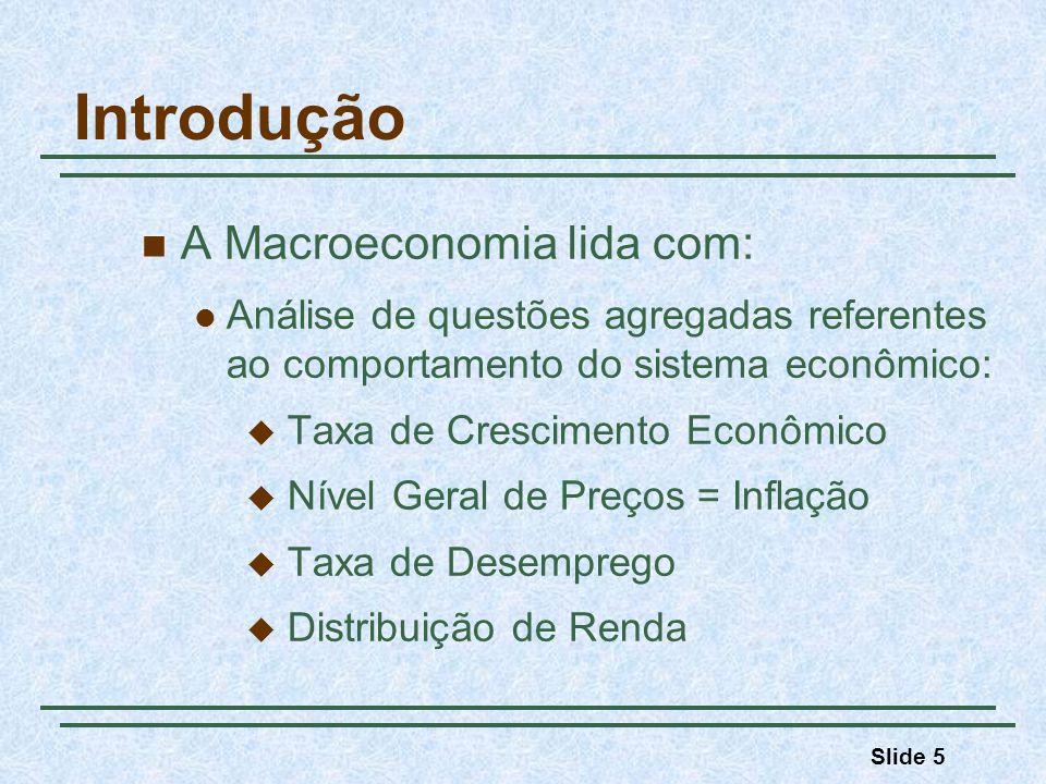 Slide 5 Introdução A Macroeconomia lida com: Análise de questões agregadas referentes ao comportamento do sistema econômico: Taxa de Crescimento Econô
