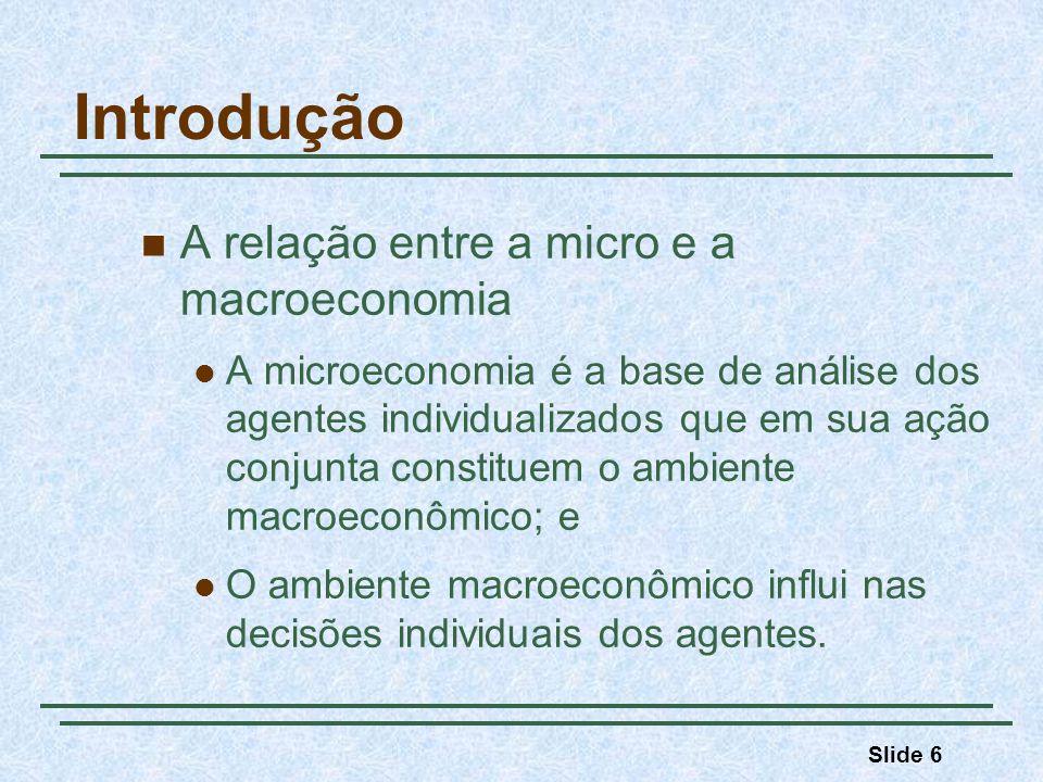 Slide 6 Introdução A relação entre a micro e a macroeconomia A microeconomia é a base de análise dos agentes individualizados que em sua ação conjunta