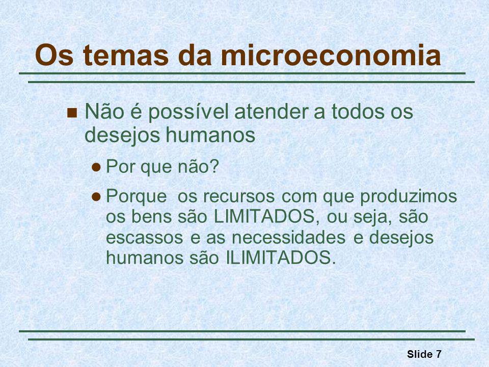 Slide 8 Os temas da microeconomia Questão central da Microeconomia Alocação de recursos escassos e escolhas de uso dos fatores produtivos entre situações alternativas (trade-off), sob condições de: uma economia de mercado preços livres