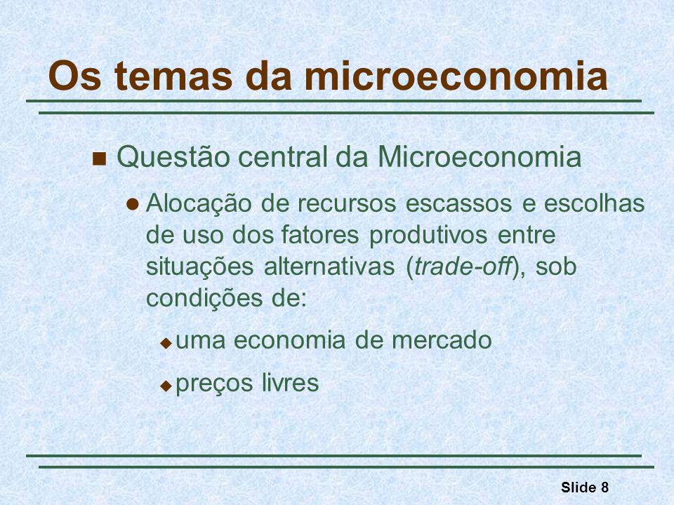 Slide 8 Os temas da microeconomia Questão central da Microeconomia Alocação de recursos escassos e escolhas de uso dos fatores produtivos entre situaç