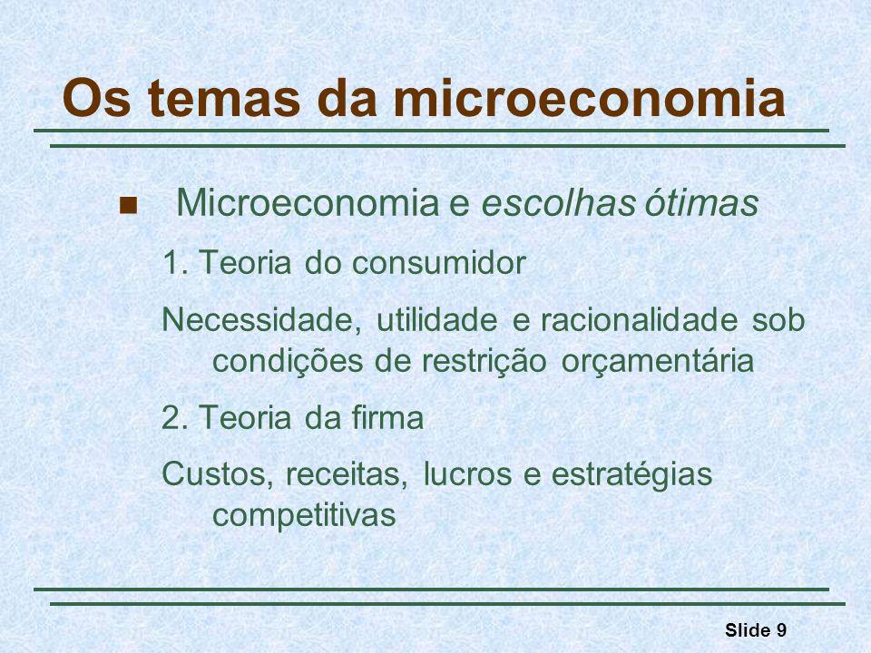 Slide 9 Os temas da microeconomia Microeconomia e escolhas ótimas 1. Teoria do consumidor Necessidade, utilidade e racionalidade sob condições de rest