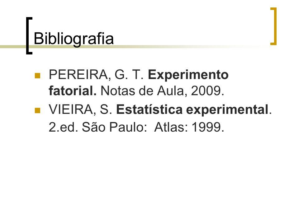 Bibliografia PEREIRA, G. T. Experimento fatorial. Notas de Aula, 2009. VIEIRA, S. Estatística experimental. 2.ed. São Paulo: Atlas: 1999.