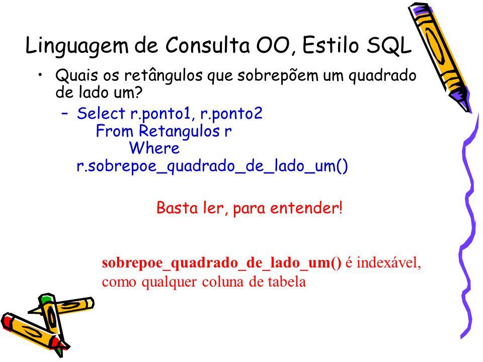 Linguagem de Consulta OO, Estilo SQL Quais os retângulos que sobrepõem um quadrado de lado um? –Select r.ponto1, r.ponto2 From Retangulos r Where r.so