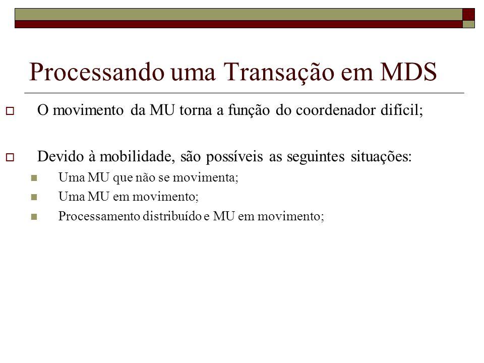 Processando uma Transação em MDS O movimento da MU torna a função do coordenador difícil; Devido à mobilidade, são possíveis as seguintes situações: U