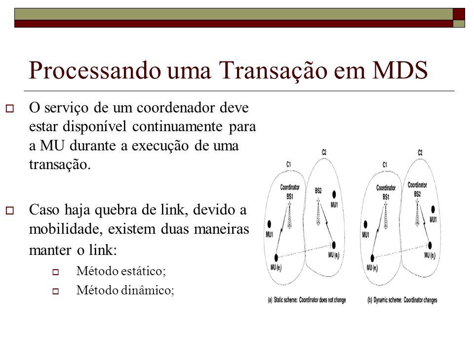 Processando uma Transação em MDS O serviço de um coordenador deve estar disponível continuamente para a MU durante a execução de uma transação. Caso h