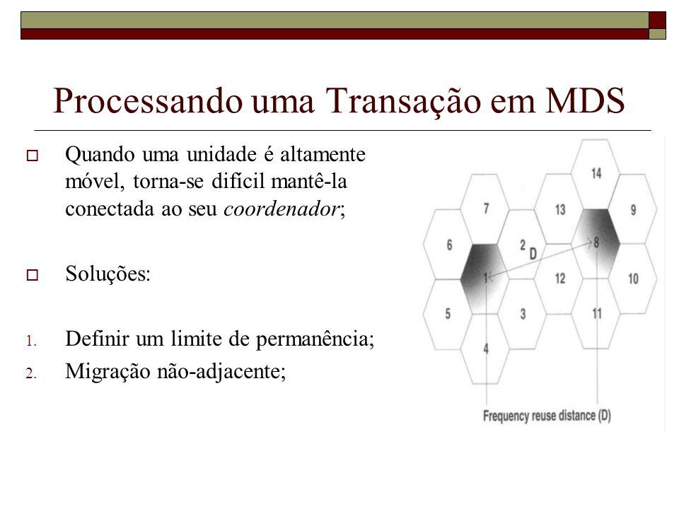 Processando uma Transação em MDS Quando uma unidade é altamente móvel, torna-se difícil mantê-la conectada ao seu coordenador; Soluções: 1. Definir um