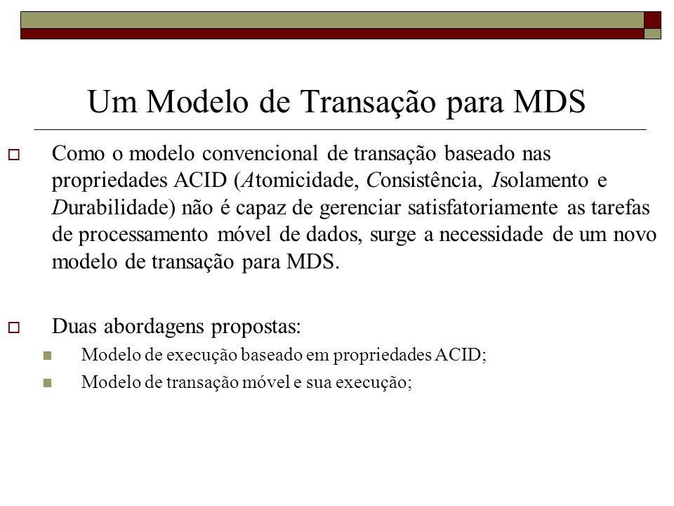 Um Modelo de Transação para MDS Como o modelo convencional de transação baseado nas propriedades ACID (Atomicidade, Consistência, Isolamento e Durabil
