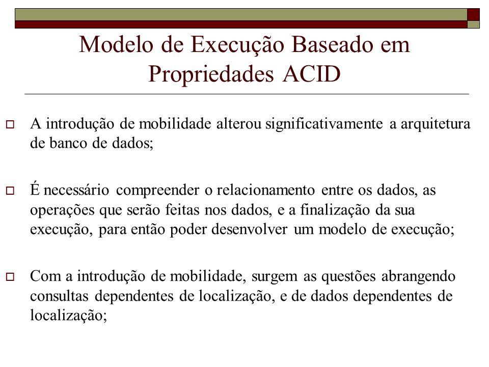 Modelo de Execução Baseado em Propriedades ACID A introdução de mobilidade alterou significativamente a arquitetura de banco de dados; É necessário co