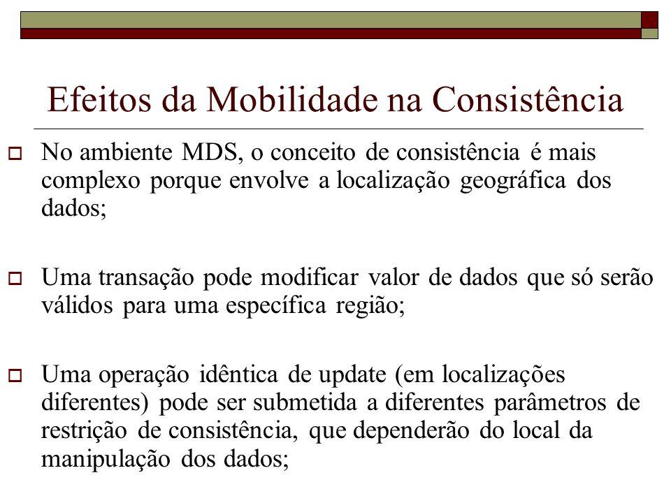 Efeitos da Mobilidade na Consistência No ambiente MDS, o conceito de consistência é mais complexo porque envolve a localização geográfica dos dados; U