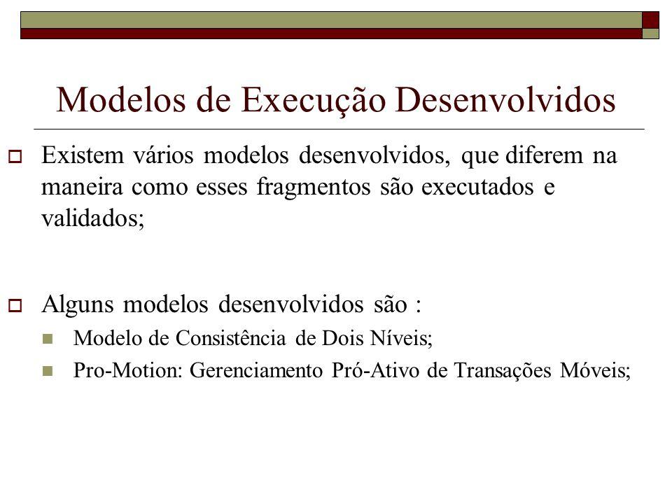Modelos de Execução Desenvolvidos Existem vários modelos desenvolvidos, que diferem na maneira como esses fragmentos são executados e validados; Algun