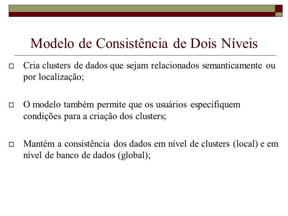 Modelo de Consistência de Dois Níveis Cria clusters de dados que sejam relacionados semanticamente ou por localização; O modelo também permite que os