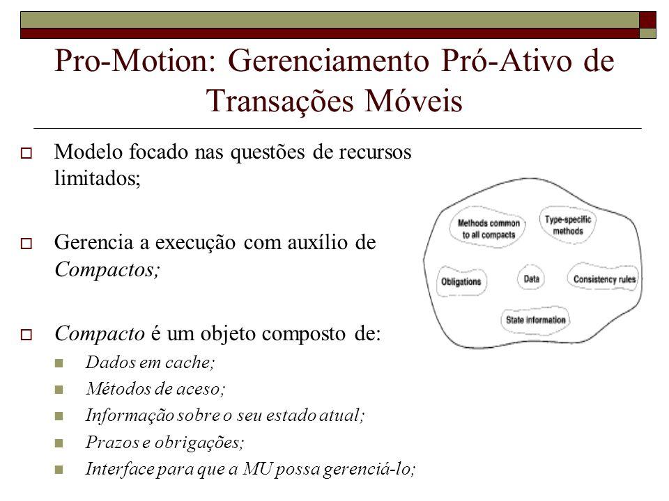 Pro-Motion: Gerenciamento Pró-Ativo de Transações Móveis Modelo focado nas questões de recursos limitados; Gerencia a execução com auxílio de Compacto