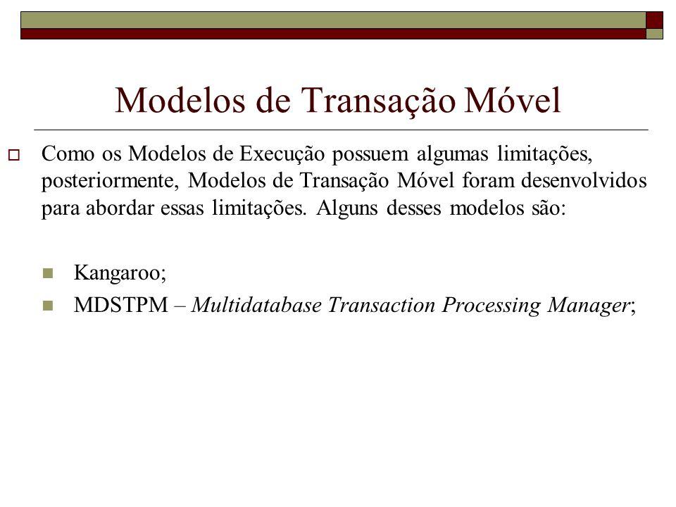 Modelos de Transação Móvel Como os Modelos de Execução possuem algumas limitações, posteriormente, Modelos de Transação Móvel foram desenvolvidos para