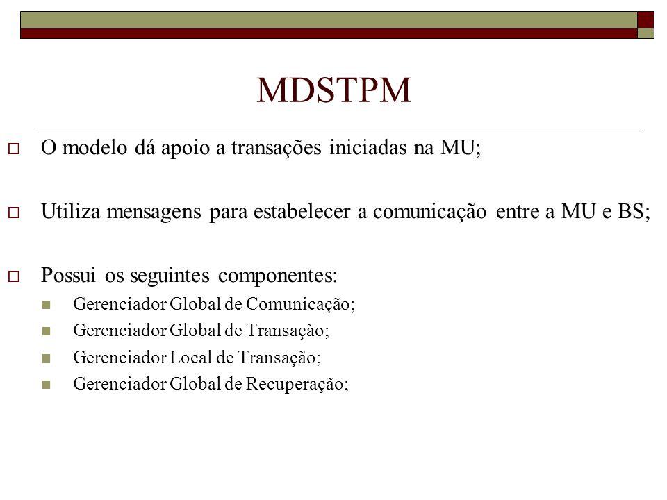 MDSTPM O modelo dá apoio a transações iniciadas na MU; Utiliza mensagens para estabelecer a comunicação entre a MU e BS; Possui os seguintes component
