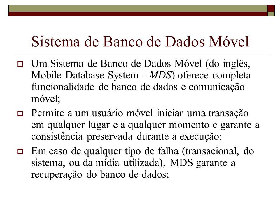 Arquitetura de um MDS A arquitetura de um MDS oferece as seguintes propriedades essenciais, que são: Mobilidade geográfica; Conexão e desconexão; Capacidade de processamento de dados; Comunicação sem fio; Transparência;
