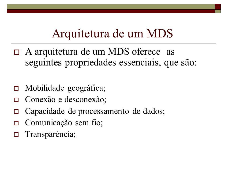 Arquitetura de um MDS A arquitetura de um MDS oferece as seguintes propriedades essenciais, que são: Mobilidade geográfica; Conexão e desconexão; Capa