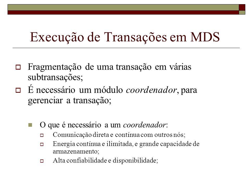 Execução de Transações em MDS Fragmentação de uma transação em várias subtransações; É necessário um módulo coordenador, para gerenciar a transação; O