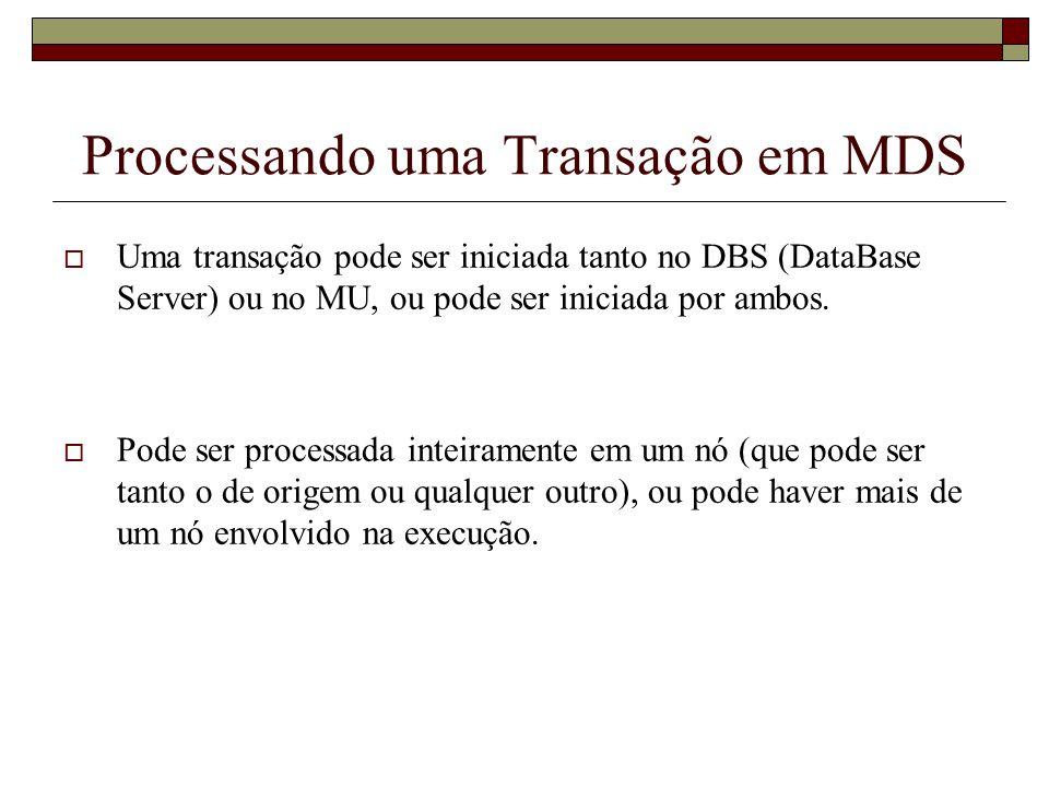 Processando uma Transação em MDS Quando há mais de um nó envolvido na execução, algumas situações podem surgir: Originada DBS; Originada na MU; Executada na MU e em um conjunto do DBS; Processada somente em DBS; Processada totalmente na MU; Quando não é possível executar totalmente na MU, existem duas opções: Transferir os dados necessários do DBS para o MU; Distribuir a transação para um conjunto de nós;