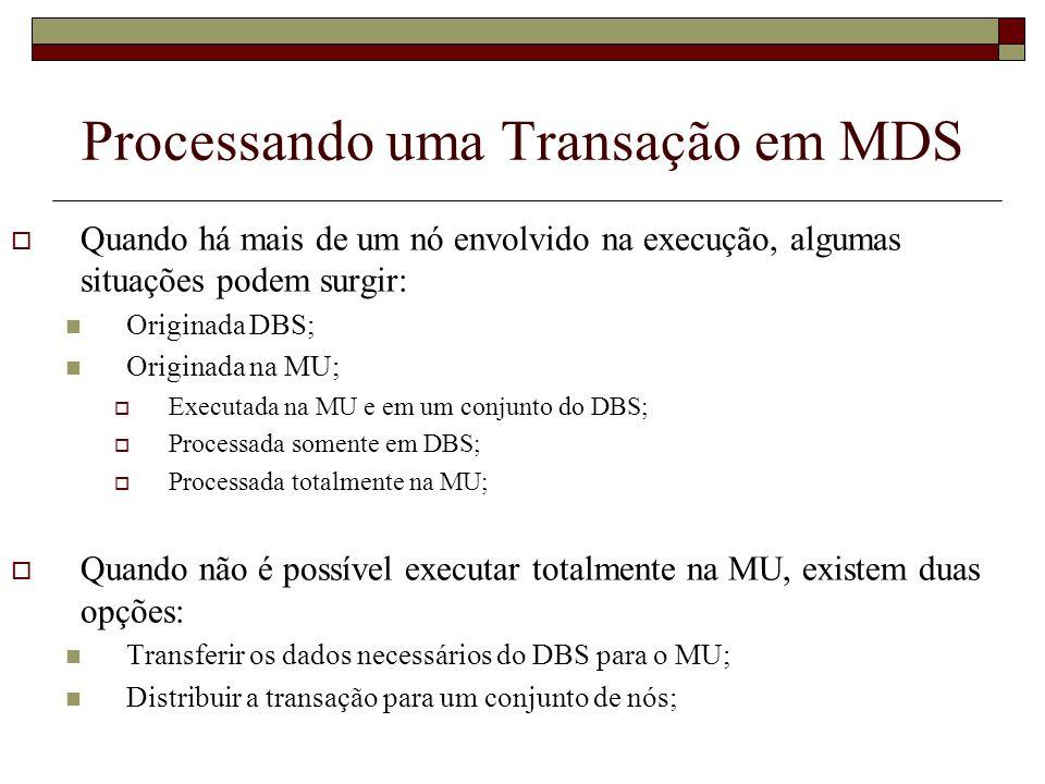 Processando uma Transação em MDS O movimento da MU torna a função do coordenador difícil; Devido à mobilidade, são possíveis as seguintes situações: Uma MU que não se movimenta; Uma MU em movimento; Processamento distribuído e MU em movimento;