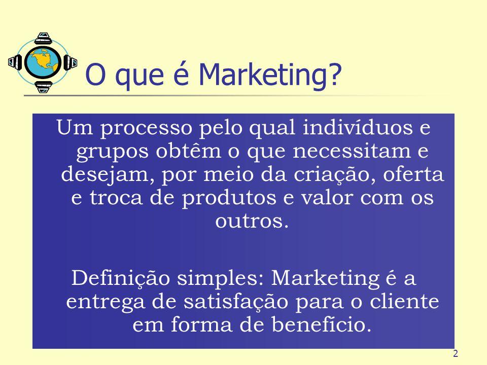 2 O que é Marketing? Um processo pelo qual indivíduos e grupos obtêm o que necessitam e desejam, por meio da criação, oferta e troca de produtos e val