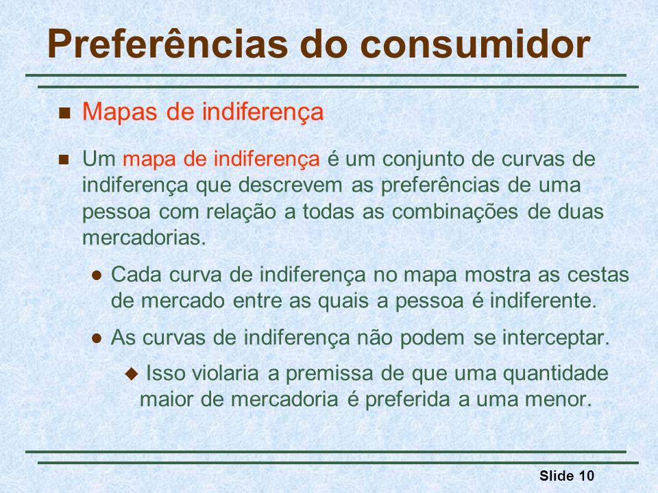 Slide 10 Preferências do consumidor Mapas de indiferença Um mapa de indiferença é um conjunto de curvas de indiferença que descrevem as preferências de uma pessoa com relação a todas as combinações de duas mercadorias.