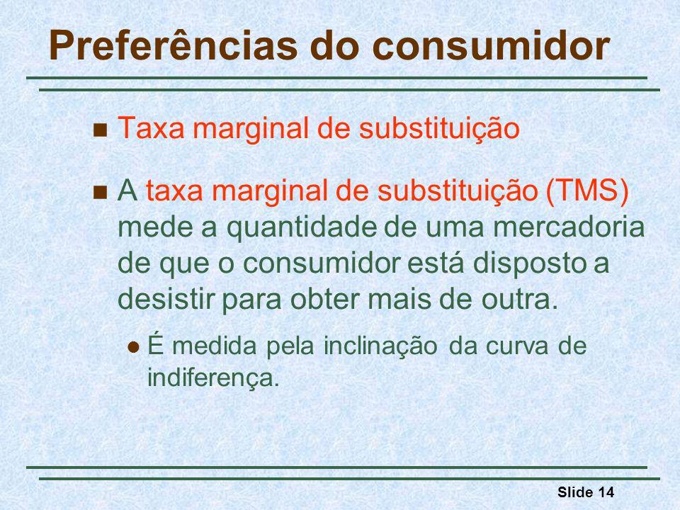 Slide 14 Preferências do consumidor Taxa marginal de substituição A taxa marginal de substituição (TMS) mede a quantidade de uma mercadoria de que o c