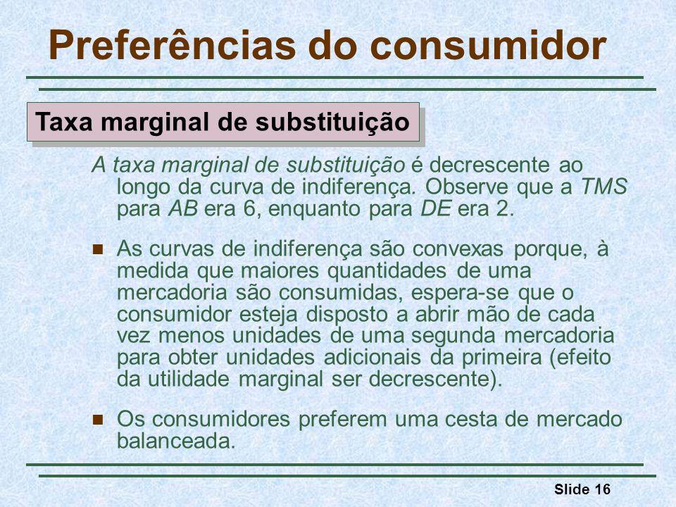 Slide 16 Preferências do consumidor A taxa marginal de substituição é decrescente ao longo da curva de indiferença. Observe que a TMS para AB era 6, e