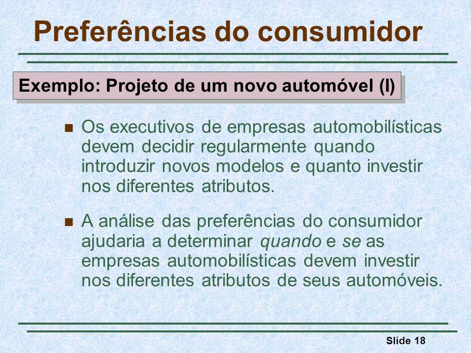 Slide 18 Preferências do consumidor Os executivos de empresas automobilísticas devem decidir regularmente quando introduzir novos modelos e quanto inv