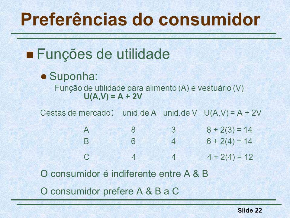 Slide 22 Preferências do consumidor Funções de utilidade Suponha: Função de utilidade para alimento (A) e vestuário (V) U(A,V) = A + 2V Cestas de merc