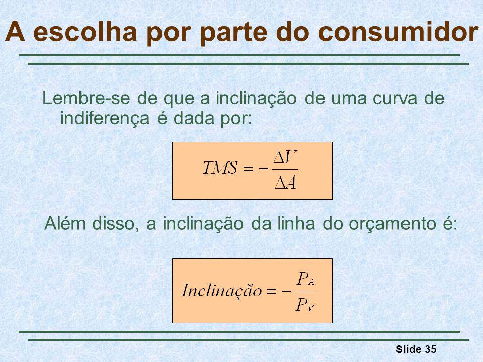 Slide 35 Lembre-se de que a inclinação de uma curva de indiferença é dada por: A escolha por parte do consumidor Além disso, a inclinação da linha do orçamento é: