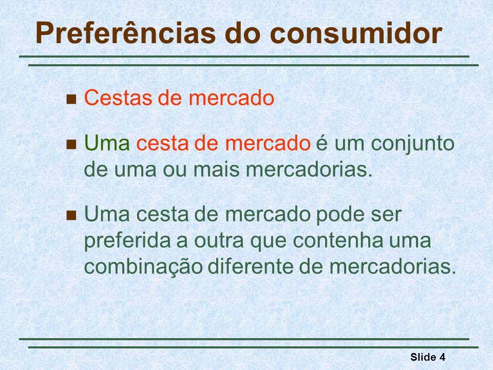 Slide 5 Preferências do consumidor Três premissas básicas: 1) As preferências são completas (prefere-se uma cesta à outra) 2) As preferências são transitivas (se A é preferível a B e B é preferível á C, então A é preferível à C.