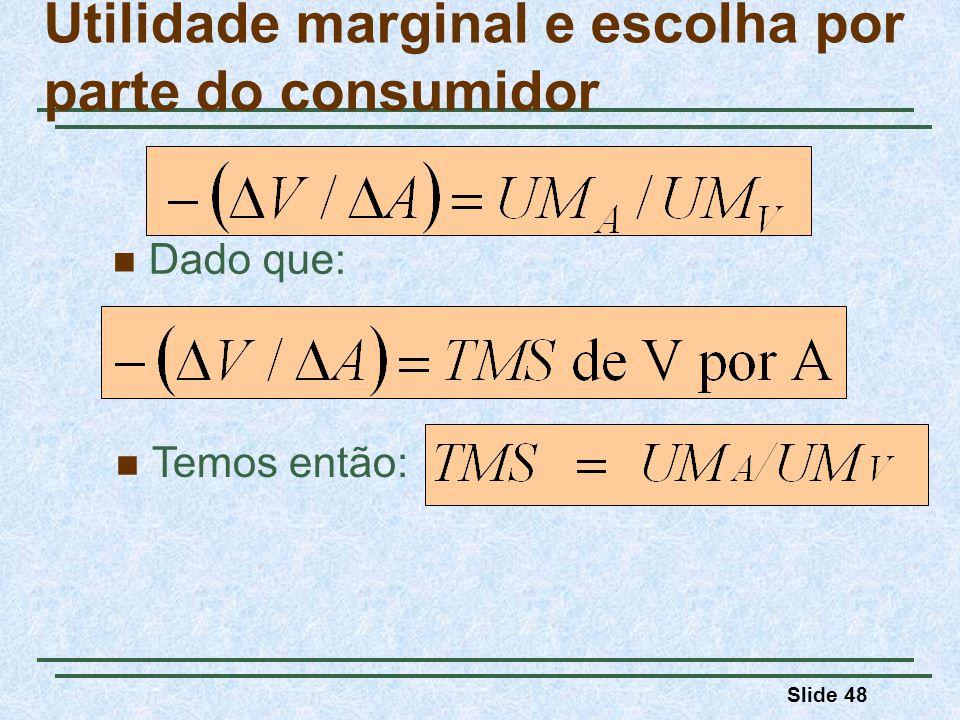 Slide 48 Dado que: Utilidade marginal e escolha por parte do consumidor Temos então: