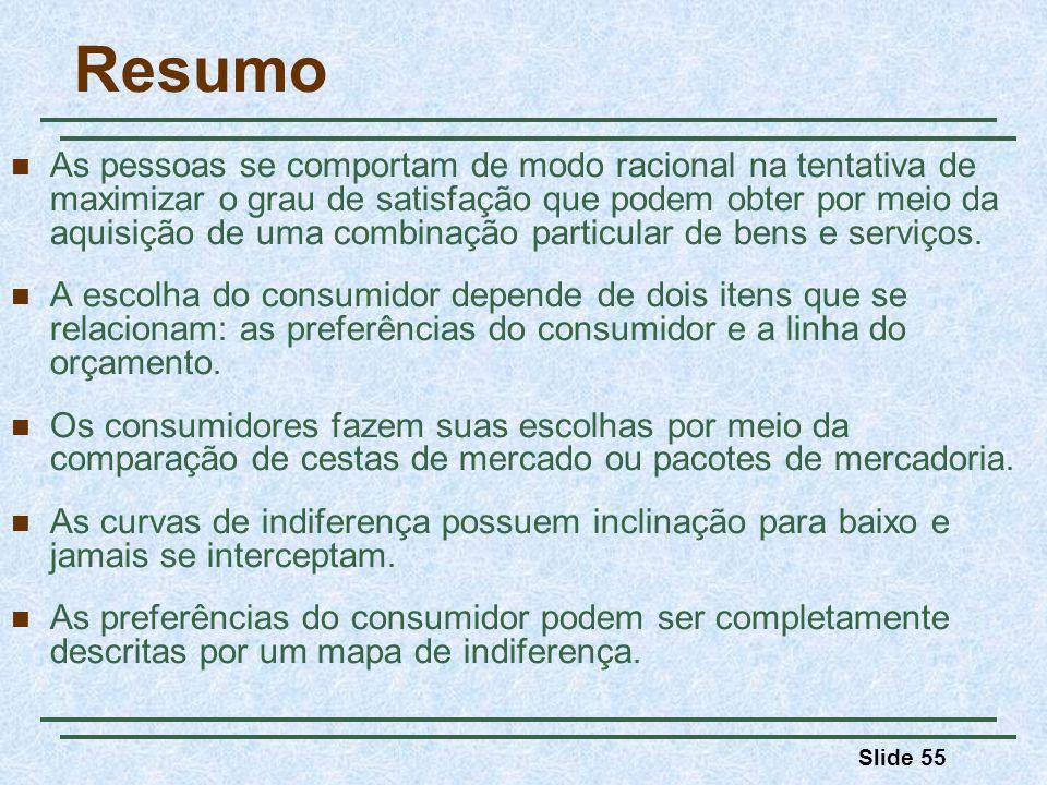 Slide 55 Resumo As pessoas se comportam de modo racional na tentativa de maximizar o grau de satisfação que podem obter por meio da aquisição de uma combinação particular de bens e serviços.